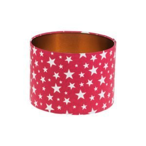 Red Stars Drum Lampshade Brushed Copper Inner