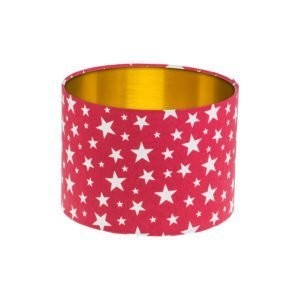 Red Stars Drum Lampshade Brushed Gold Inner