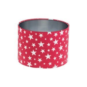 Red Stars Drum Lampshade Brushed Silver Inner
