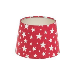 Red Stars French Drum Lampshade Champagne Inner
