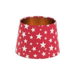 Red Stars French Drum Lampshade Brushed Copper Inner