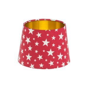 Red Stars French Drum Lampshade Brushed Gold Inner