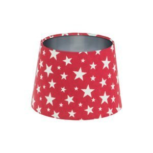 Red Stars French Drum Lampshade Brushed Silver Inner