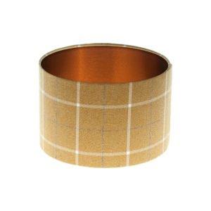 Winsford Ochre Tartan Drum Lampshade Brushed Copper Inner
