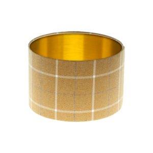 Winsford Ochre Tartan Drum Lampshade Brushed Gold Inner