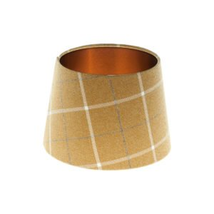 Winsford Ochre Tartan French Drum Lampshade Brushed Copper Inner