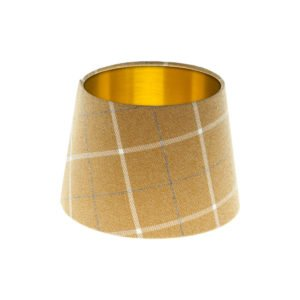 Winsford Ochre Tartan French Drum Lampshade Brushed Gold Inner