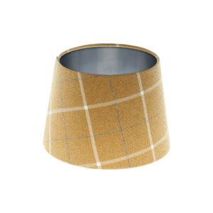 Winsford Ochre Tartan French Drum Lampshade Brushed Silver Inner