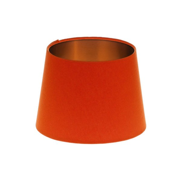 Bright Orange French Drum Lampshade Brushed Copper Inner