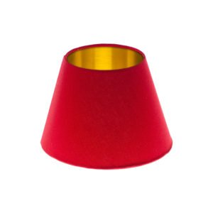 Bright Red Empire Lampshade Brushed Gold Inner