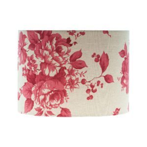 Bright Red Rose Floral Drum Lampshade