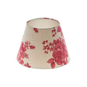 Bright Red Rose Floral Empire Lampshade Champagne Inner