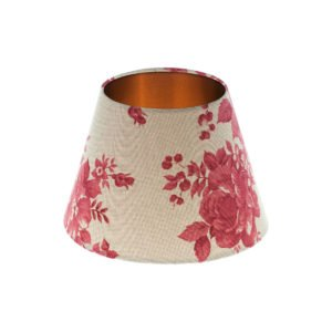 Bright Red Rose Floral Empire Lampshade Brushed Copper Inner