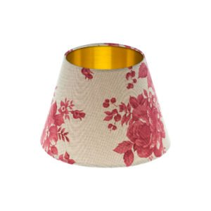Bright Red Rose Floral Empire Lampshade Brushed Gold Inner