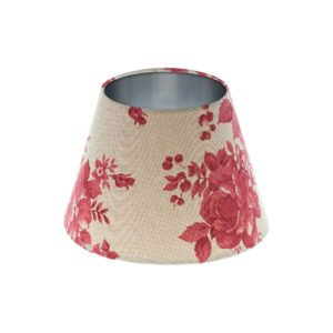 Bright Red Rose Floral Empire Lampshade Brushed Silver Inner