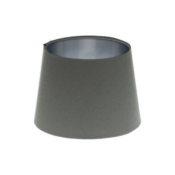 Dark Grey French Drum Lampshade Brushed Silver Inner