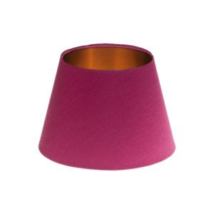Bright Pink Satin Empire Lampshade Brushed Copper Inner