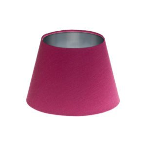 Bright Pink Satin Empire Lampshade Brushed Silver Inner