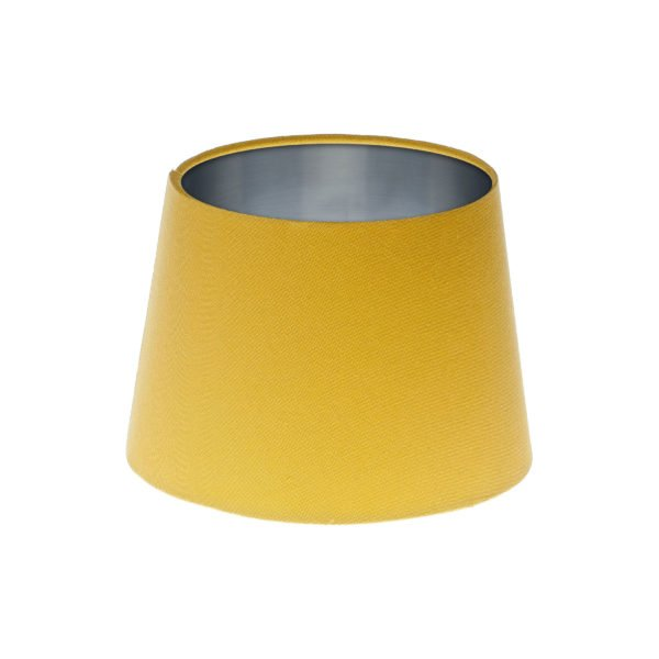 Mustard Yellow French Drum Lampshade Brushed Silver Inner