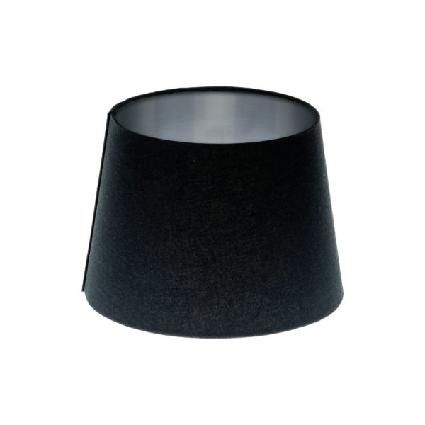 Dark Navy Blue French Drum Lampshade Brushed Silver Inner