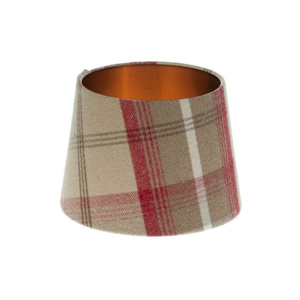 Balmoral Cranberry Tartan French Drum Lampshade Brushed Copper Inner