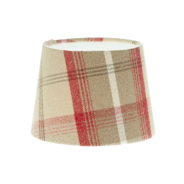 Balmoral Cranberry Tartan French Drum Lampshade