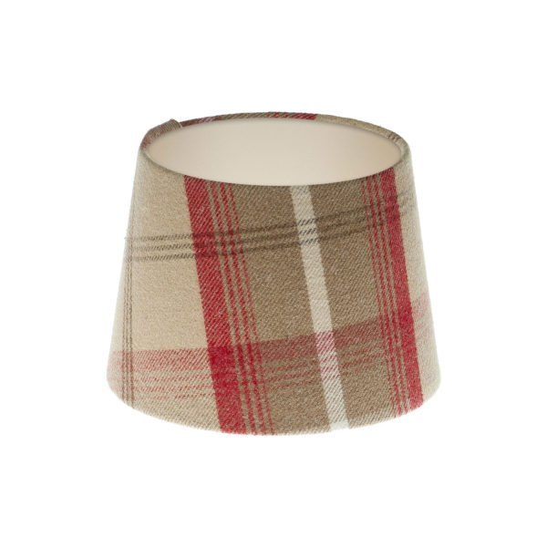 Balmoral Cranberry Tartan French Drum Lampshade Champagne Inner