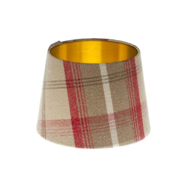 Balmoral Cranberry Tartan French Drum Lampshade Brushed Gold Inner