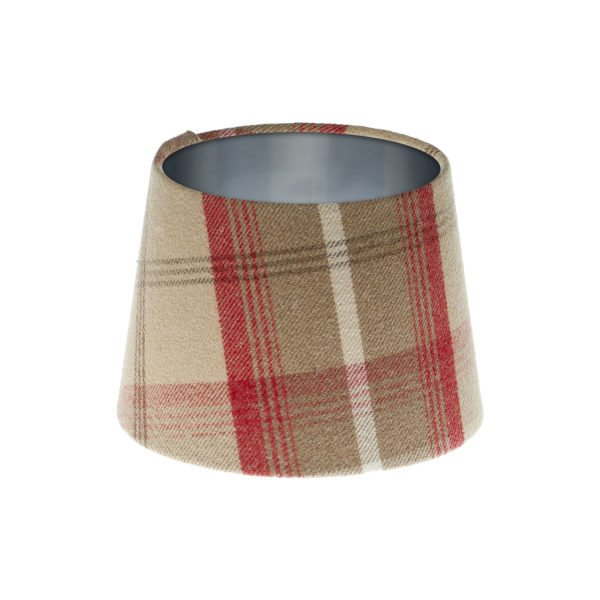 Balmoral Cranberry Tartan French Drum Lampshade Brushed Silver Inner