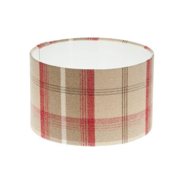 Balmoral Cranberry Tartan Drum Lampshade