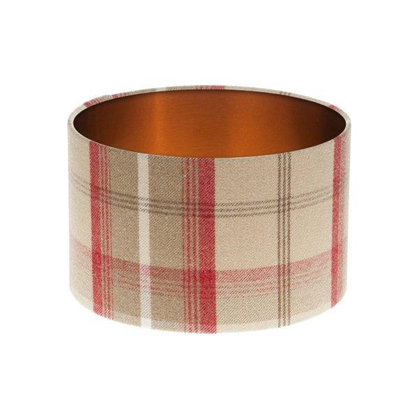 Balmoral Cranberry Tartan Drum Lampshade Brushed Copper Inner