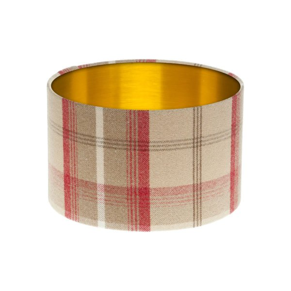 Balmoral Cranberry Tartan Drum Lampshade Brushed Gold Inner