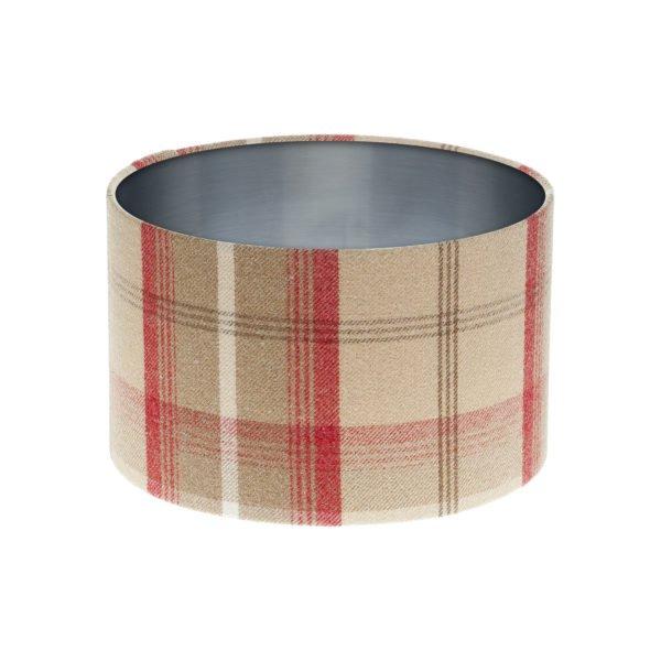 Balmoral Cranberry Tartan Drum Lampshade Brushed Silver Inner