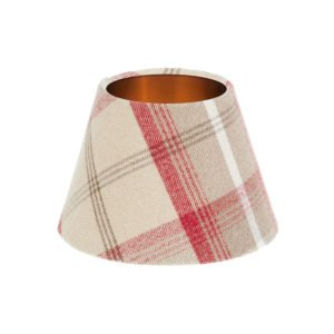 Balmoral Cranberry Tartan Empire Lampshade Brushed Copper Inner