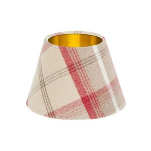 Balmoral Cranberry Tartan Empire Lampshade Brushed Gold Inner