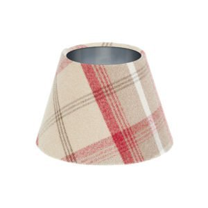 Balmoral Cranberry Tartan Empire Lampshade Brushed Silver Inner