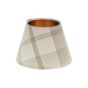 Balmoral Natural Tartan Empire Lampshade Brushed Copper Inner