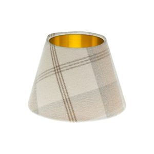 Balmoral Natural Tartan Empire Lampshade Brushed Gold Inner