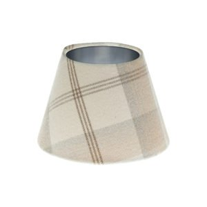 Balmoral Natural Tartan Empire Lampshade Brushed Silver Inner