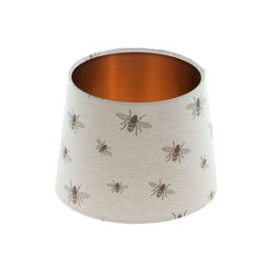 Bees French Drum Lampshade Brushed Copper Inner