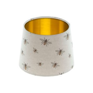 Bees French Drum Lampshade Brushed Gold Inner