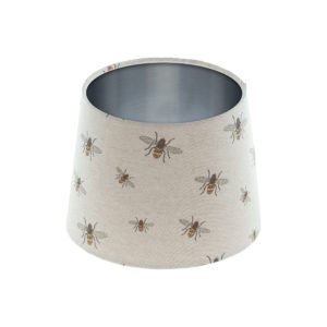 Bees French Drum Lampshade Brushed Silver Inner
