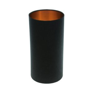 Black Tall Drum Lampshade Brushed Copper Inner