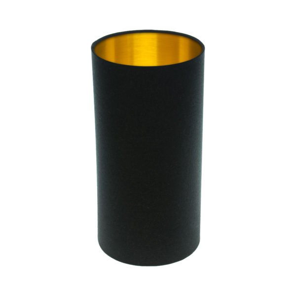 Black Tall Drum Lampshade Brushed Gold Inner