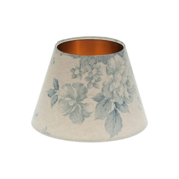 Blue Faded Rose Floral Empire Lampshade Brushed Copper Inner