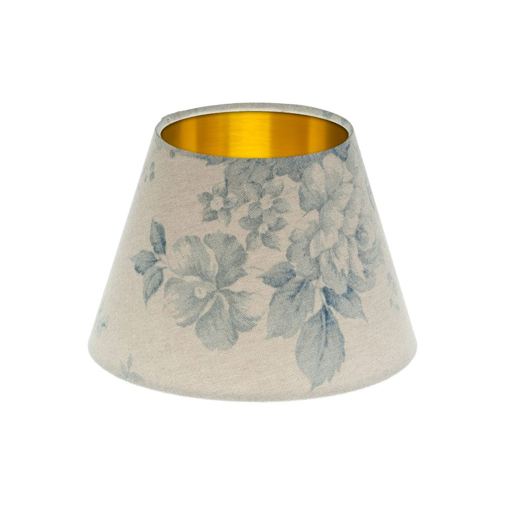Blue Faded Rose Floral Empire Lampshade Brushed Gold Inner