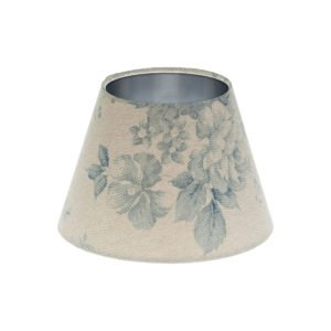 Blue Faded Rose Floral Empire Lampshade Brushed Silver Inner