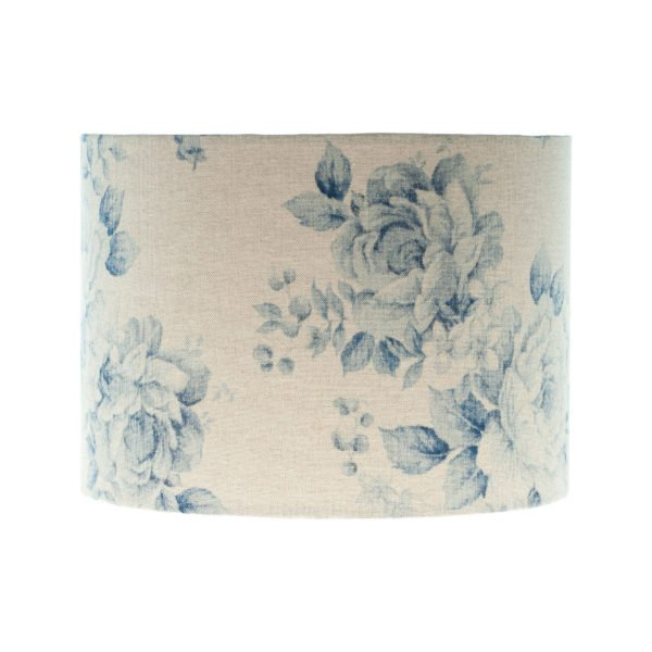 Blue Faded Rose Floral Drum Lampshade