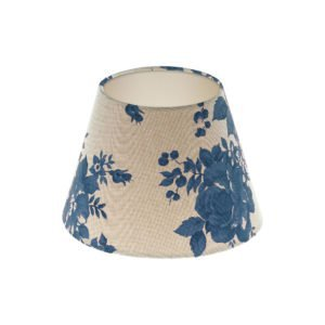 Bright Blue Rose Floral Empire Lampshade Champagne Inner
