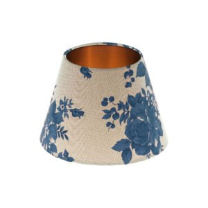 Bright Blue Rose Floral Empire Lampshade Brushed Copper Inner